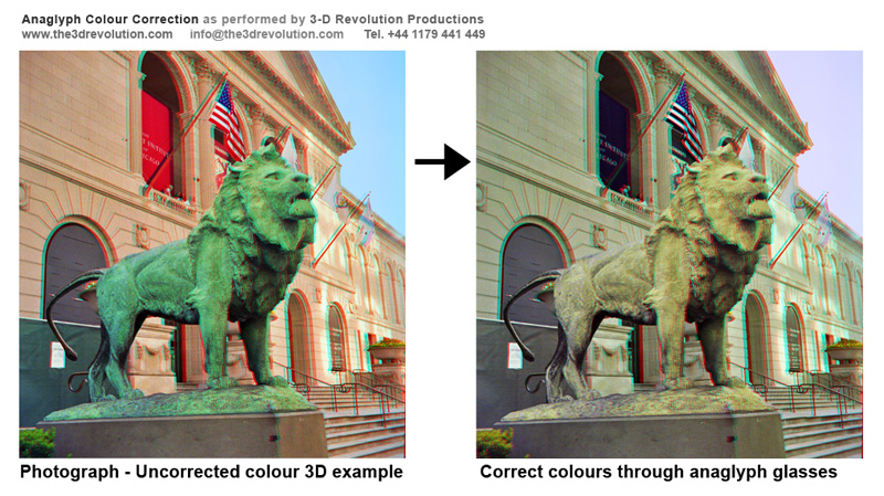 Correct colours with anaglyph 3-D