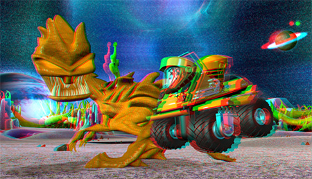 Anaglyph 3-D stereoscopic animation image